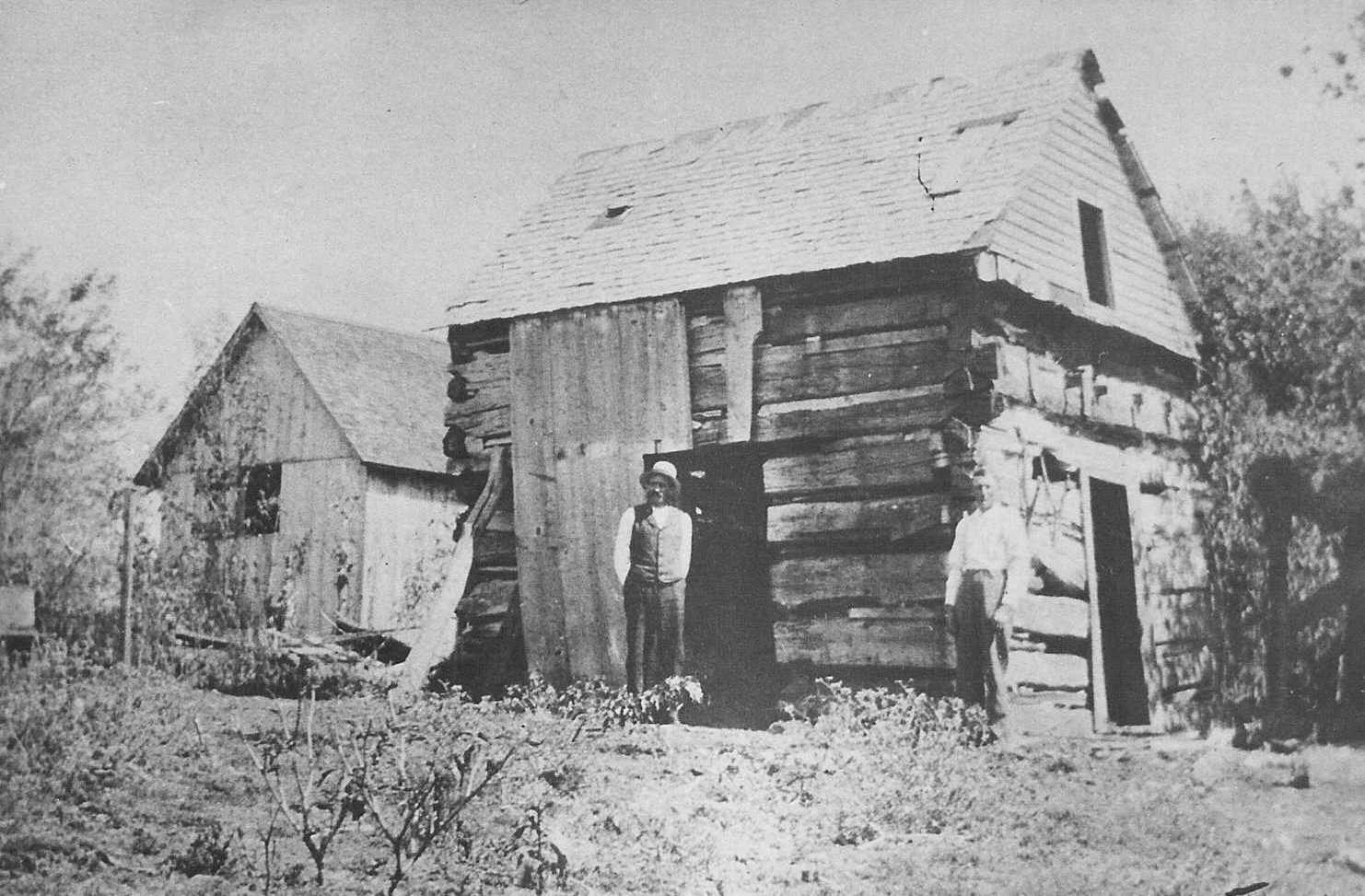 1862 – Earl Rogler and Nichol-Gosler in front of what may be John Rogler cabin and homestead.