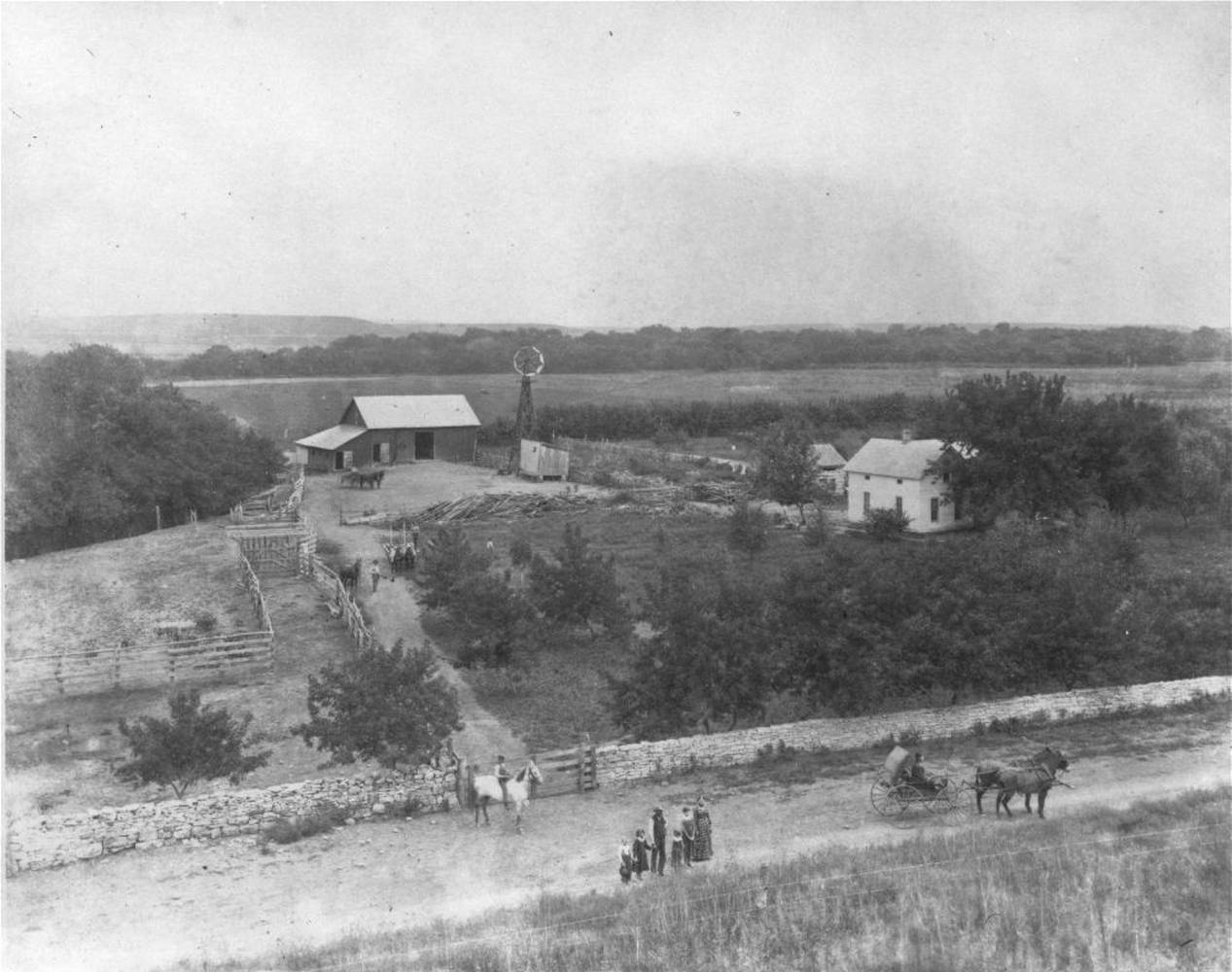 High view of the ranch site in the 1880s