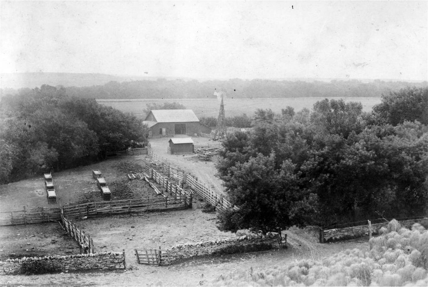 A high view of the ranch site taken in 1902