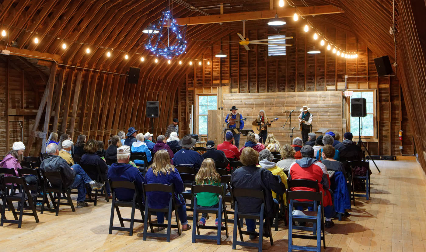 THe Tallgrass Express String Band entertains in the loft of the main barn