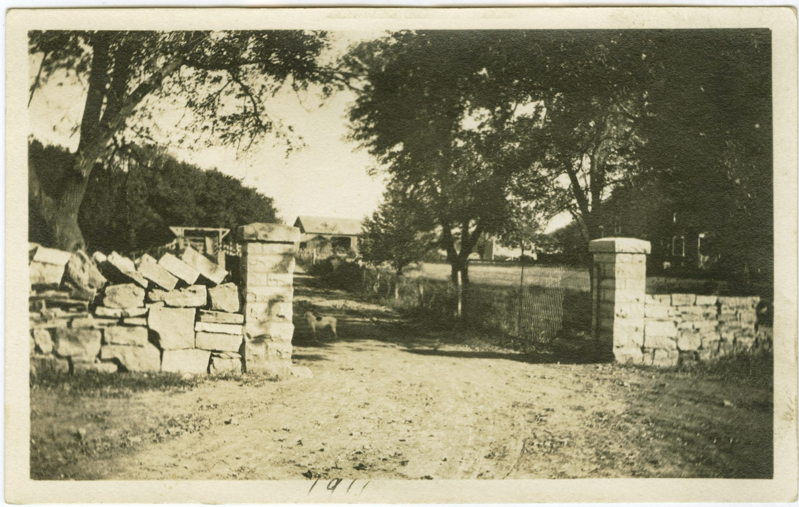 Details of stone fence entrance in 19100